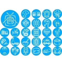 Seafood blue icons collection vector