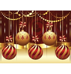 Decorative gold xmas balls7 vector