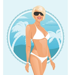 Pretty girl on a summer background - vector
