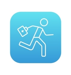 Paramedic running with first aid kit line icon vector