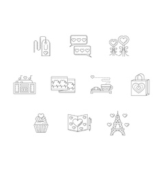 Thin line style love story icons vector