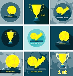 Golden sports reward and prizes vector