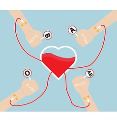 Donate blood to heart shape vector