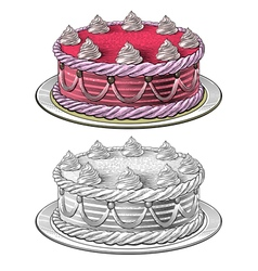 Birthday cake in engraving style vector image