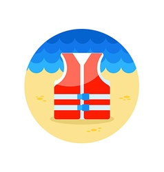 Life jacket icon summer vacation vector