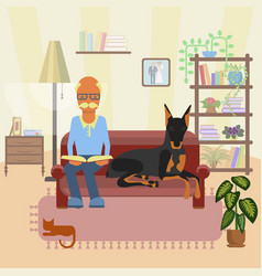A senior man with dog vector