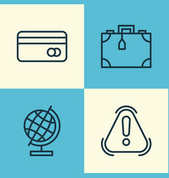 Airport icons set collection of plastic card vector