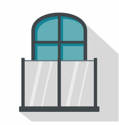 Balcony with a glass fence icon flat style vector