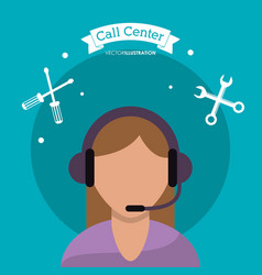 call center woman support help vector image
