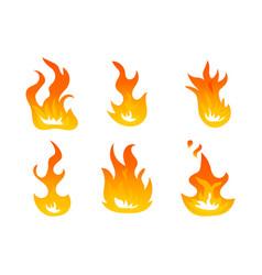 Cartoon fire flames set ignition light vector