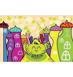Cartoon happy owl in the fairy town vector