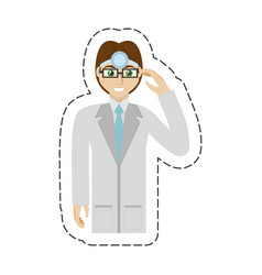 Cartoon male doctor glasses smile vector
