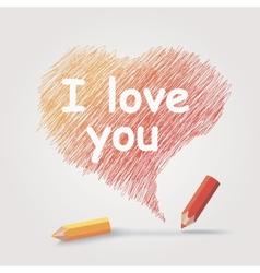 Colored pencils text i love you vector