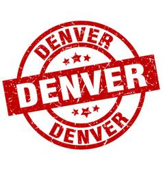 Denver red round grunge stamp vector