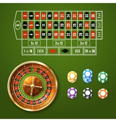 European roulette set vector