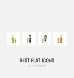 flat icon people set of grandma father daugther vector image vector image