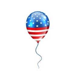 Flying balloon in american flag colors vector