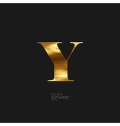 Golden letter Y vector image