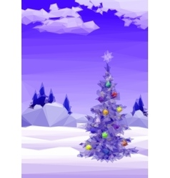 Landscape with christmas tree vector