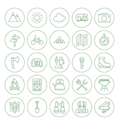 Line circle camping icons set vector