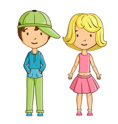 Little boy and girl isolated vector image