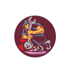 Mechanic wrench unscrewing circle woodcut vector