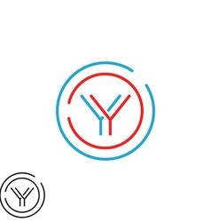 Modern graphic y logo letter monogram thin line vector