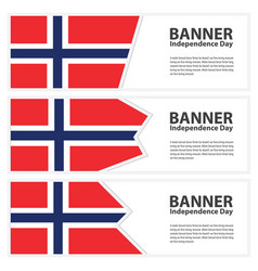 Norway flag banners collection independence day vector