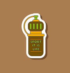 Paper sticker on stylish background sports bottle vector