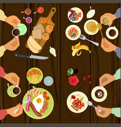 persons is eating breakfast vector image