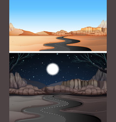 road to the desert day and night vector image vector image