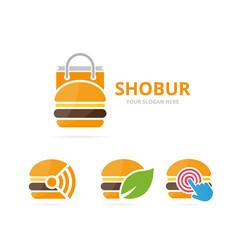 set of burger logo combination hamburger and sale vector image vector image
