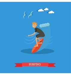 Surfer riding on ocean wave vector image vector image