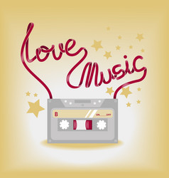 with music cassette vector image vector image