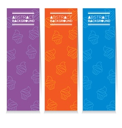 Set Of Three Colorful Cupcakes Vertical Banners vector image
