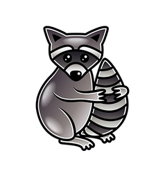 Cute cartoon raccoon isolated vector