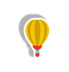 Stylish icon in paper sticker style air balloon vector