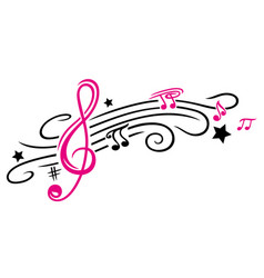 Music notes and clef vector