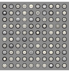 Set of wheels and rims vector