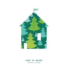 Holiday christmas trees house silhouette pattern vector