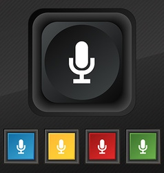 Microphone icon symbol set of five colorful vector