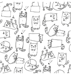 Cute kittens seamless background vector
