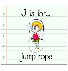 Flashcard letter j is for jump rope vector