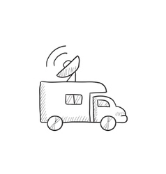 Broadcasting van sketch icon vector