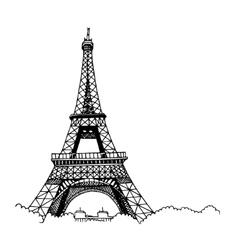 Hand drawn eiffel tower vector