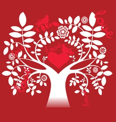 Love tree and doves vector