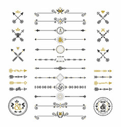black and golden modern retro hand drawn arrows vector image vector image