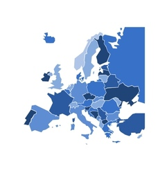 Blank coloured political map of europe vector