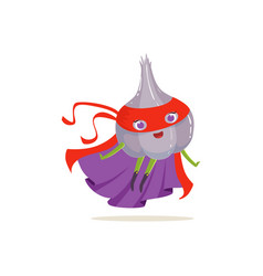 cartoon character of superhero onion in flying vector image vector image