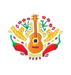 Chili pepper guitar and sombrero stylized vector